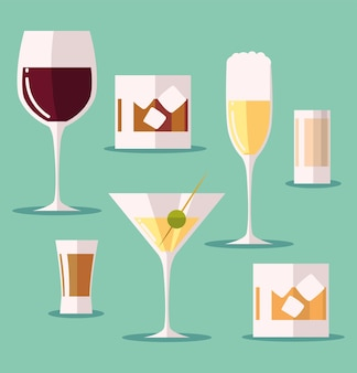 Conjunto de ícones com taça de vinho martini cocktalis drinks de uísque