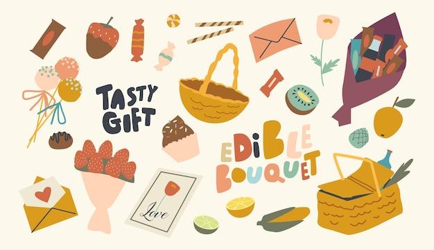 Conjunto de ícones com tema de buquê comestível