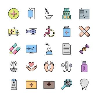 Conjunto de ícones com tema médico