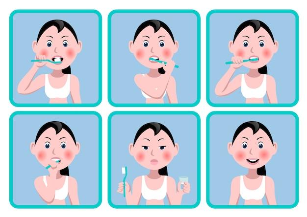 Conjunto de ícones com uma garota que escova os dentes