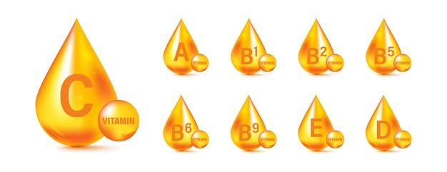 Conjunto de ícones complexos de multivitaminas. suplemento multivitamínico. vitamina a, b grupo b1, b2, b3, b5, b6, b9, b12, c, d, d3, e, k, h, k1, pp. complexo de vitaminas essenciais. conceito de vida saudável