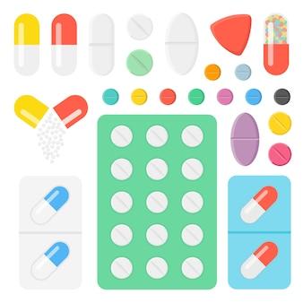 Conjunto de ícones comprimidos e cápsulas