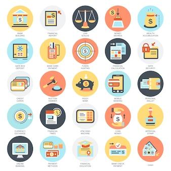 Conjunto de ícones conceituais planos de economia, serviços bancários e financeiros, poupança de dinheiro.