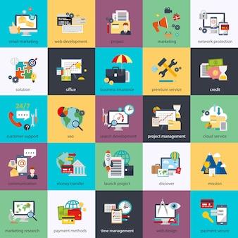Conjunto de ícones conceituais planos de monitoramento e marketing digital, processo criativo