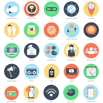 Conjunto de ícones conceituais planos de rede social