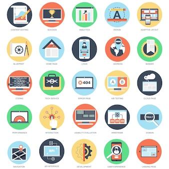 Conjunto de ícones conceituais planos de web design