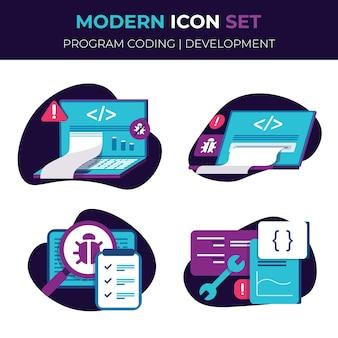 Conjunto de ícones conjunto de ícones de ilustração web gestão de contabilidade