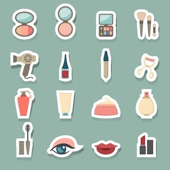 Conjunto de ícones cosméticos de maquiagem