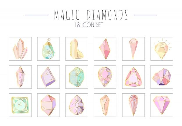 Conjunto de ícones - cristais coloridos ou pedras preciosas em branco, coleção com pedras preciosas, diamantes, mão desenhada