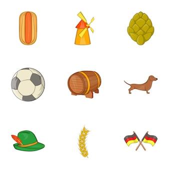 Conjunto de ícones da alemanha, estilo cartoon