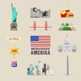 Conjunto de ícones da américa