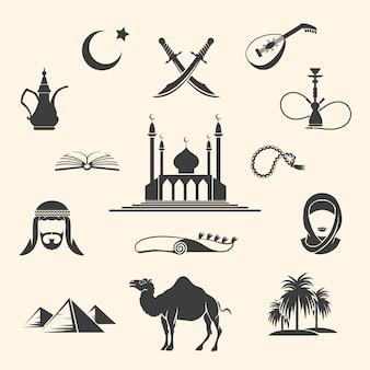 Conjunto de ícones da arábia