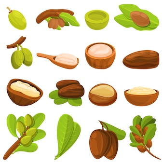 Conjunto de ícones da árvore de carité. conjunto de desenhos animados de ícones de árvore de carité para a web