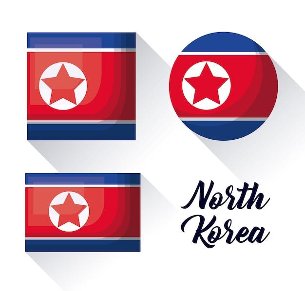 Conjunto de ícones da bandeira da coreia do norte em diferentes formas