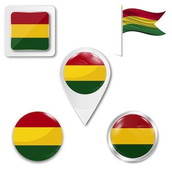 Conjunto de ícones da bandeira nacional da bolívia