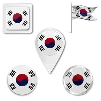 Conjunto de ícones da bandeira nacional da coreia do sul
