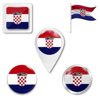 Conjunto de ícones da bandeira nacional da croácia