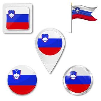 Conjunto de ícones da bandeira nacional da eslovénia