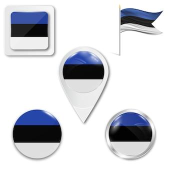 Conjunto de ícones da bandeira nacional da estónia