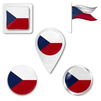 Conjunto de ícones da bandeira nacional da república checa