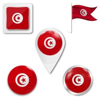 Conjunto de ícones da bandeira nacional da tunísia