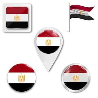 Conjunto de ícones da bandeira nacional do egito