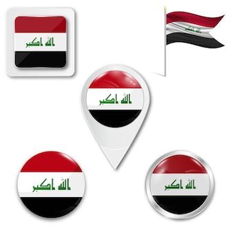 Conjunto de ícones da bandeira nacional do iraque