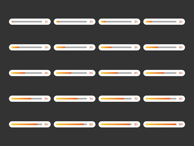 Conjunto de ícones da barra de progresso moderno