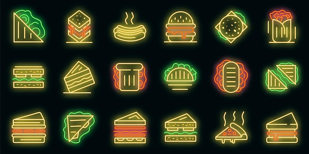 Conjunto de ícones da barra de sanduíche. conjunto de contorno de ícones de vetor de barra de sanduíche, cor de néon no preto