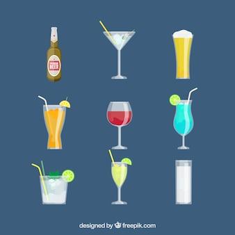 Conjunto de ícones da bebida em design plano