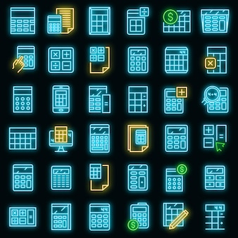 Conjunto de ícones da calculadora. conjunto de contorno de ícones de vetor de calculadora cor de néon no preto