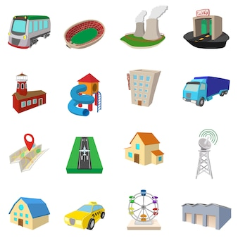 Conjunto de ícones da cidade em vetor isolado de estilo dos desenhos animados