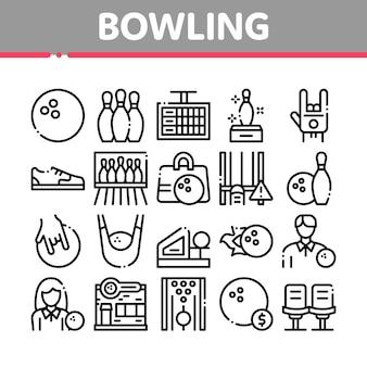 Conjunto de ícones da coleção de ferramentas de jogo de boliche