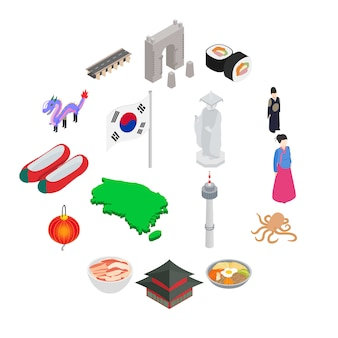 Conjunto de ícones da coreia do sul, estilo isométrico