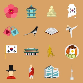Conjunto de ícones da coreia do sul