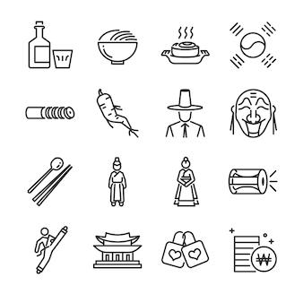 Conjunto de ícones da coreia.