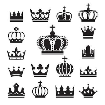 Conjunto de ícones da coroa.