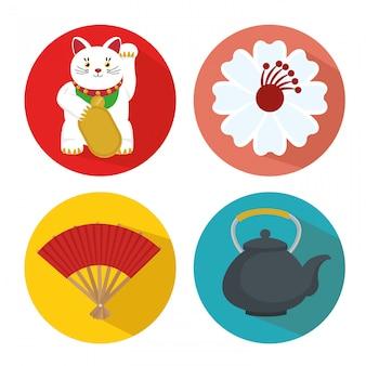 Conjunto de ícones da cultura do japão