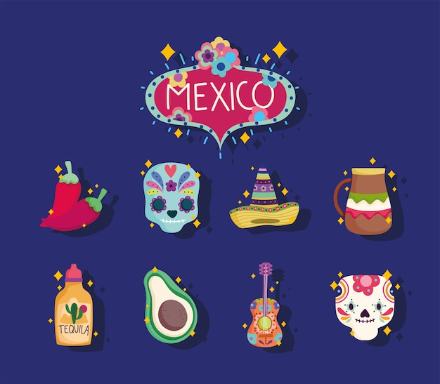 Conjunto de ícones da cultura do méxico, caveira, chapéu, tequila, violão e chapéu