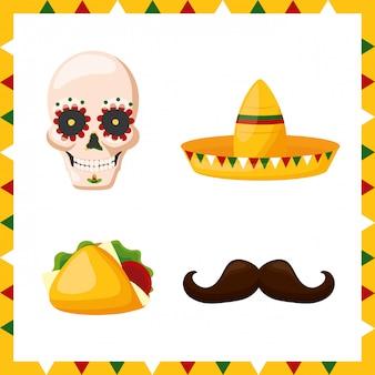 Conjunto de ícones da cultura do méxico, ilustração