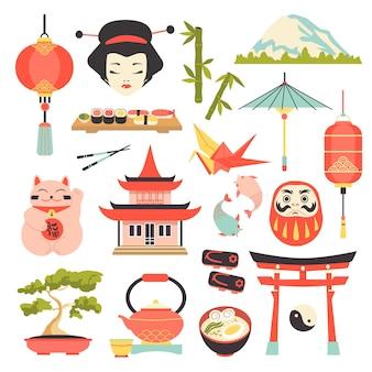 Conjunto de ícones da cultura japonesa.
