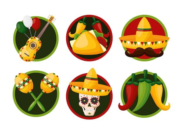 Conjunto de ícones da cultura mexicana, ilustração de cinco de maio, méxico