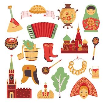 Conjunto de ícones da cultura russa.