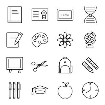 Conjunto de ícones da educação