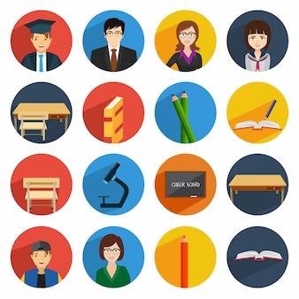 Conjunto de ícones da escola
