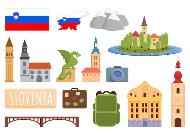 Conjunto de ícones da eslovênia. conjunto de desenhos animados de ícones vetoriais da eslovênia