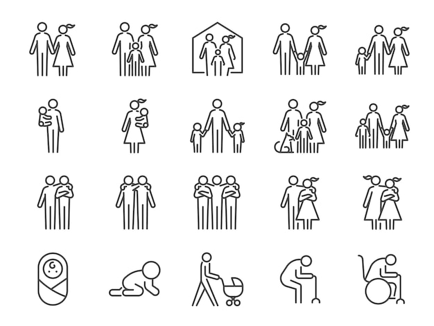 Conjunto de ícones da família.