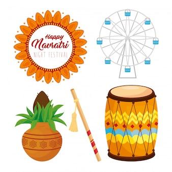 Conjunto de ícones da feliz celebração do navratri