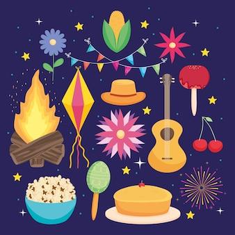 Conjunto de ícones da festa junina brasileira