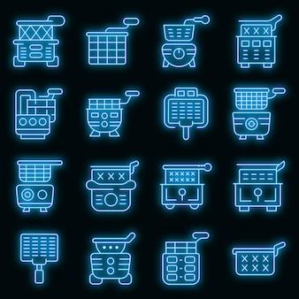 Conjunto de ícones da fritadeira. conjunto de contorno de ícones de vetor de fritadeira de cor neon em preto